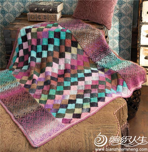 白桦编织提花毛线毯
