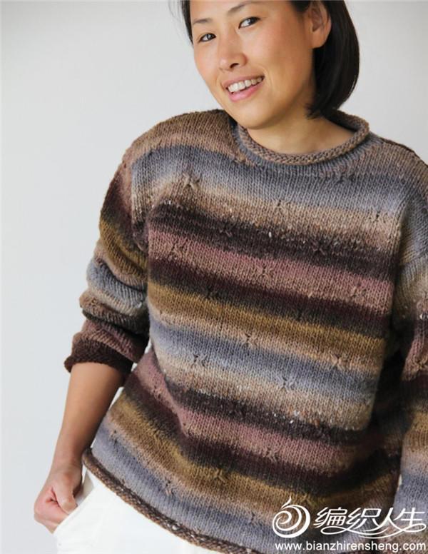 大地色女士棒针毛衣
