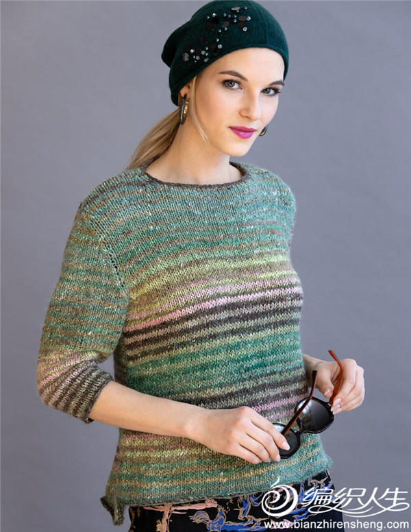 女士棒针条纹毛衣