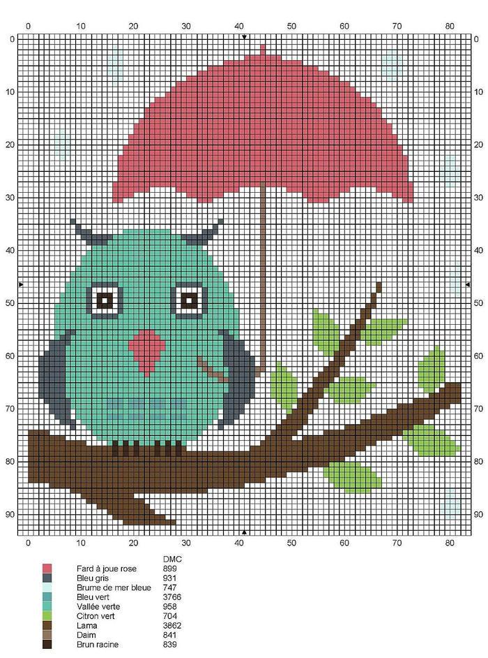 打伞的猫头鹰图案