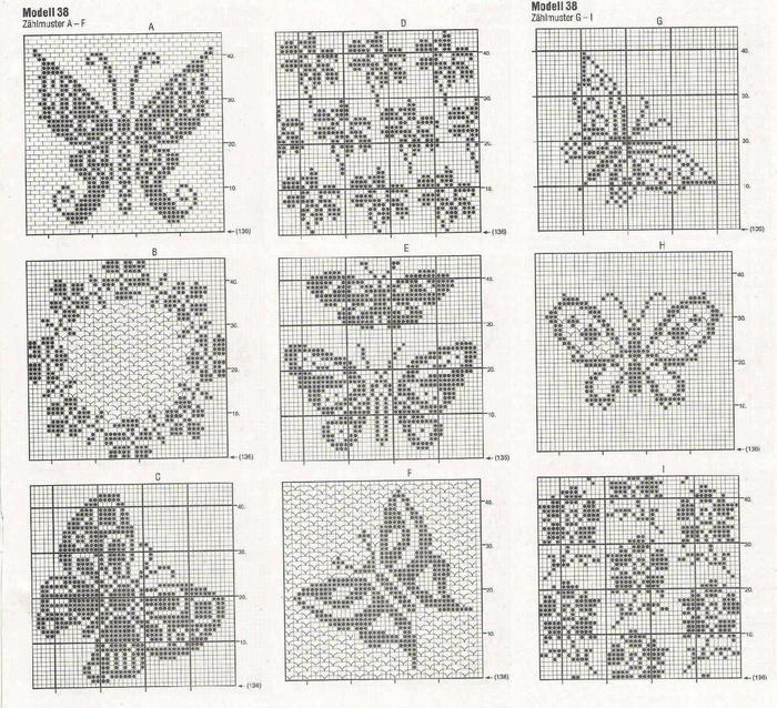 钩针蝴蝶花卉图案