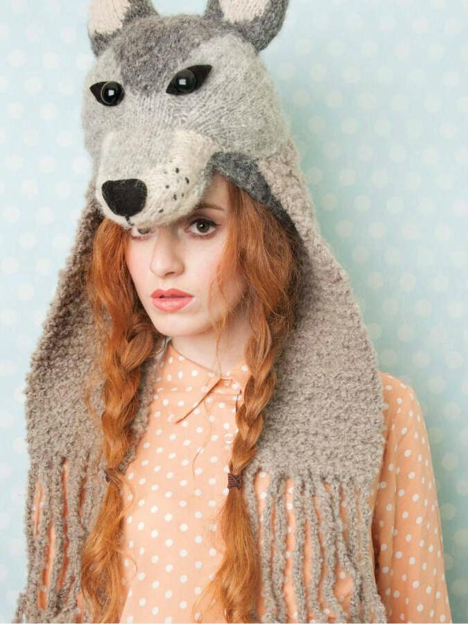 棒针动物帽