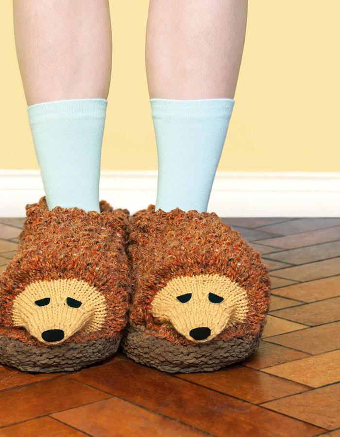 棒针刺猬托鞋