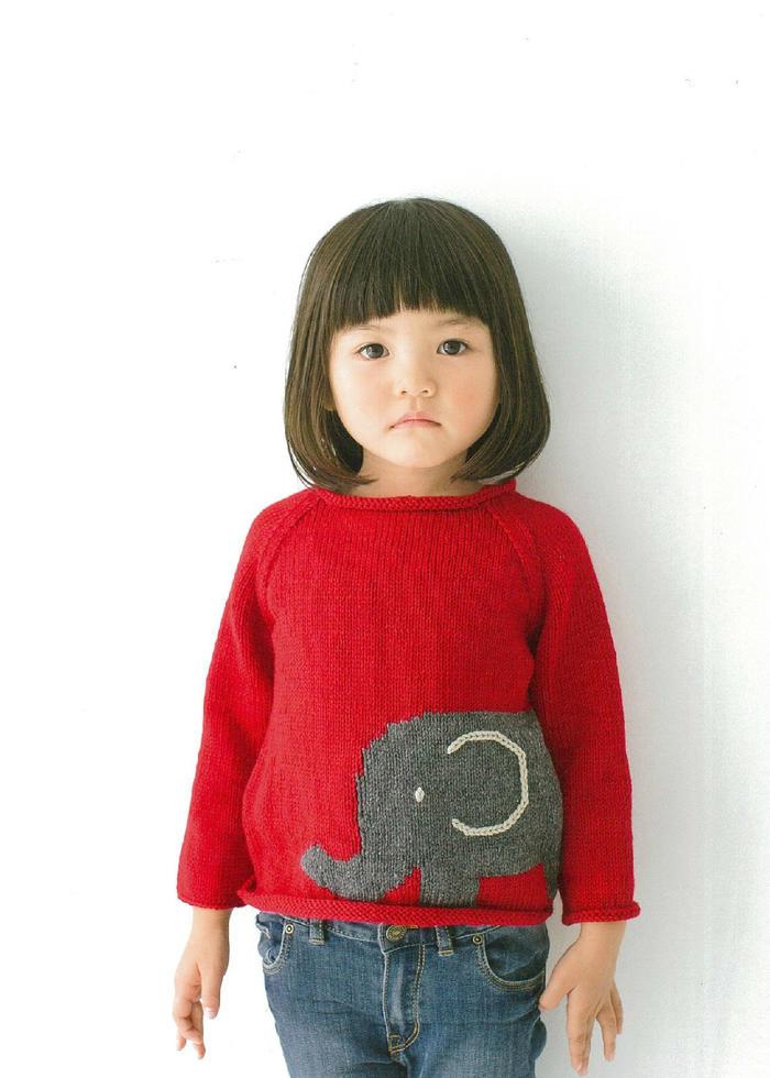 儿童卡通大象图案套头毛衣