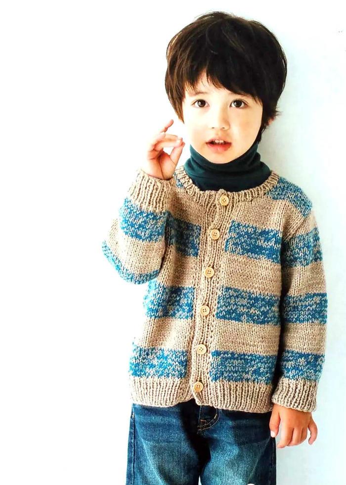 男童棒针条纹开衫