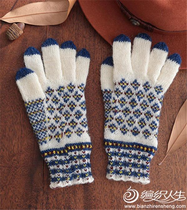棒针提花手套