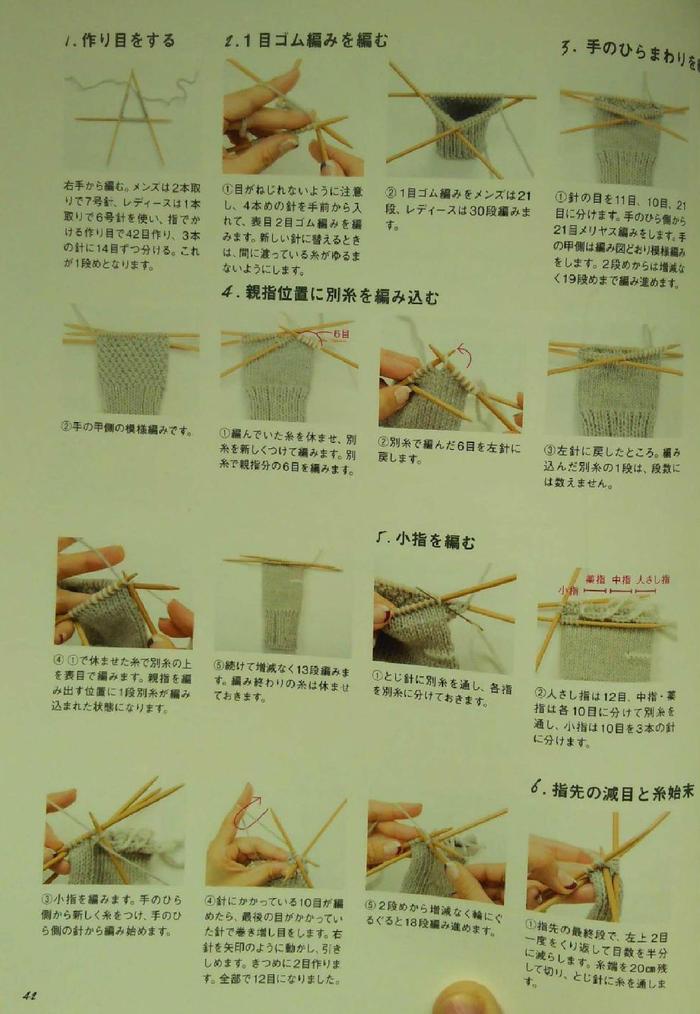 五指手套织法过程