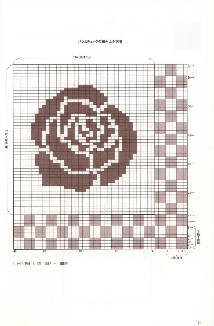 棒针玫瑰图案图解