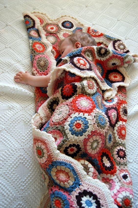 钩针提花毯