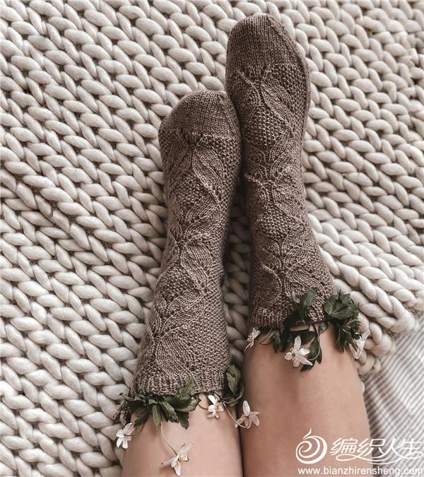 棒针蕾丝袜子