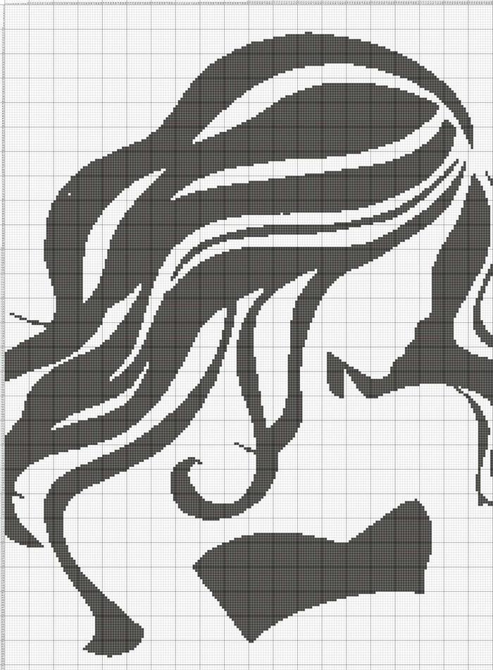 女人花 线条人像毛衣图案图解
