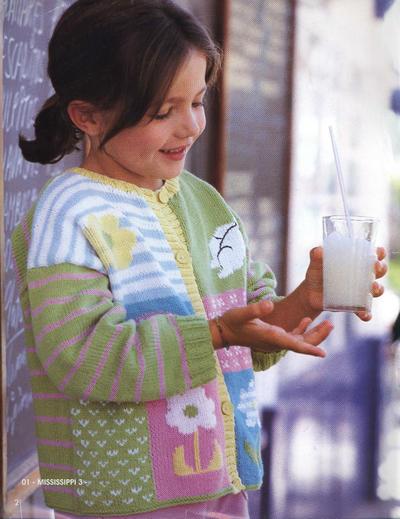儿童棒针花朵图案开衫
