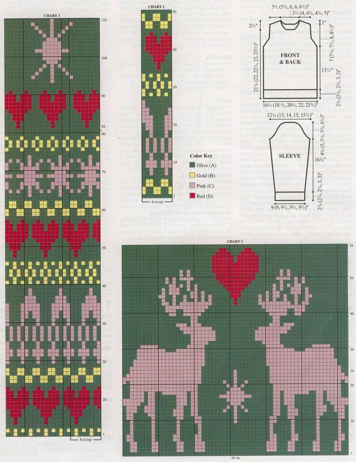 爱心几何图案与驯鹿毛衣图案
