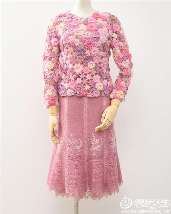 钩织女士马海毛套裙