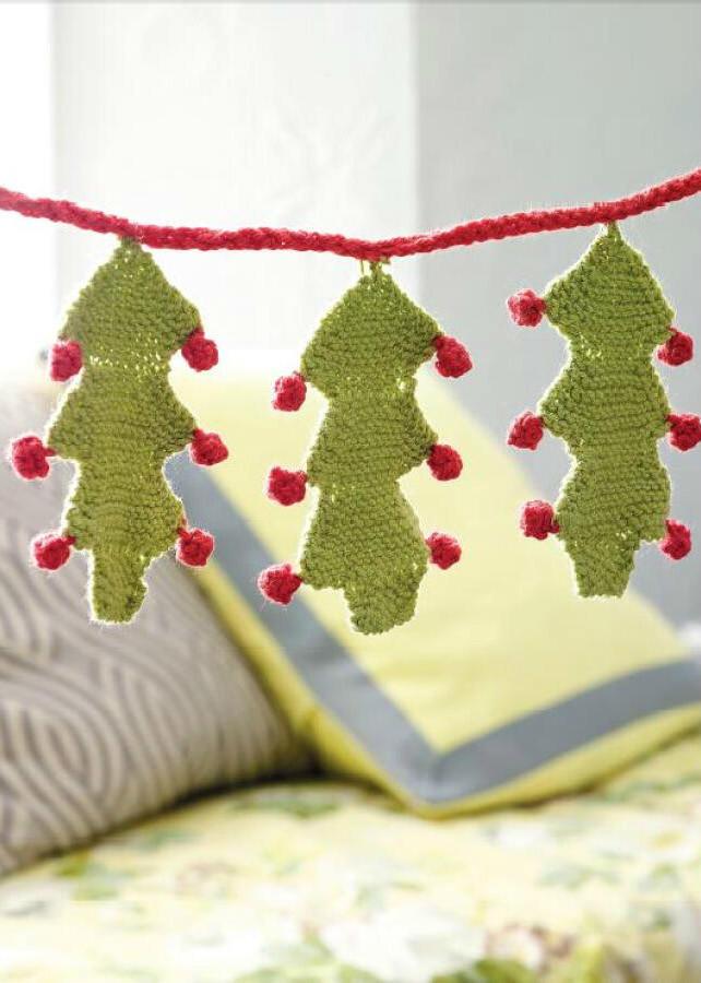 圣诞风格棒针彩旗