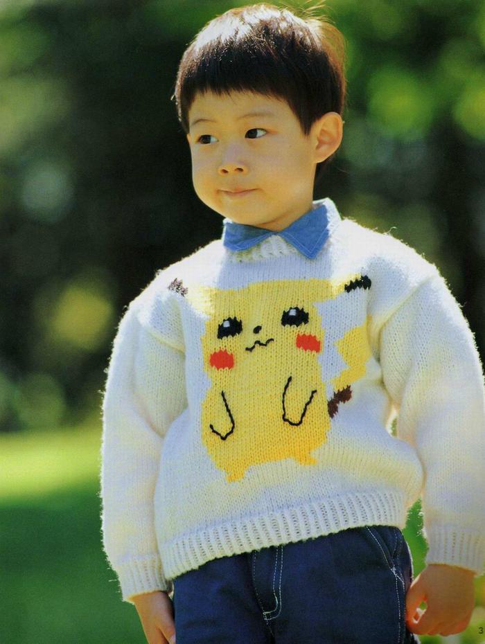 儿童棒针比卡丘套头毛衣