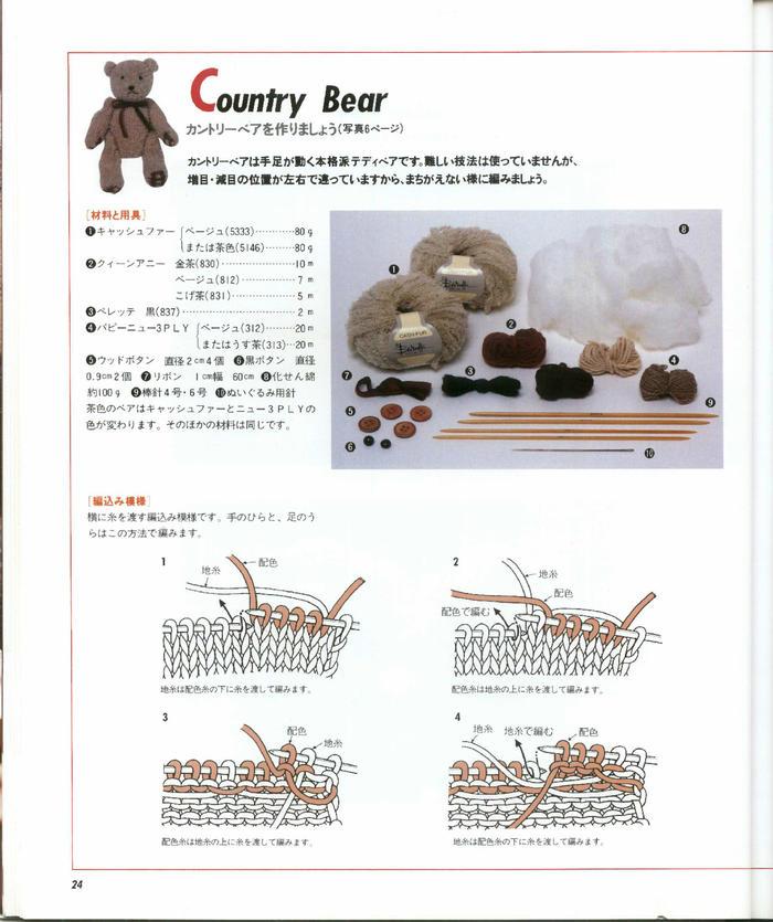 先织再缝的绒绒线棒针大小泰迪熊( 含制作过程)