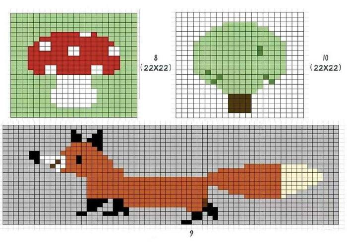 拼接款棒针卡通图案毯子编织图解