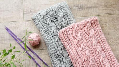棒针麻花围巾