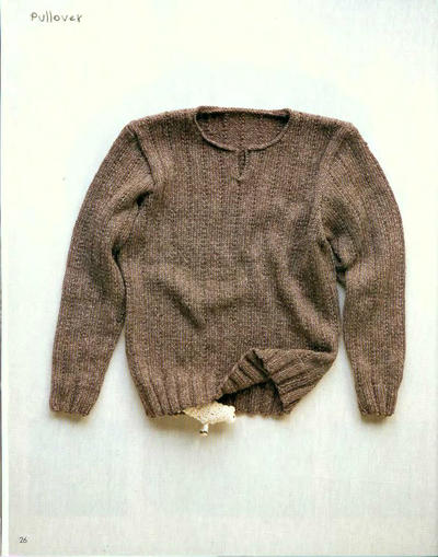男士棒针亨利领套头毛衣