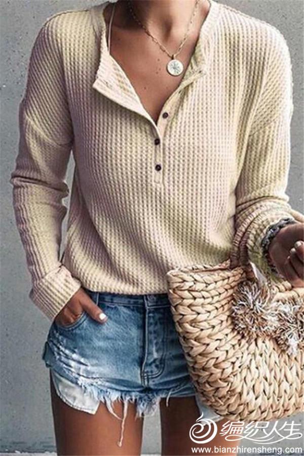 女士棒针Y型领套头毛衣