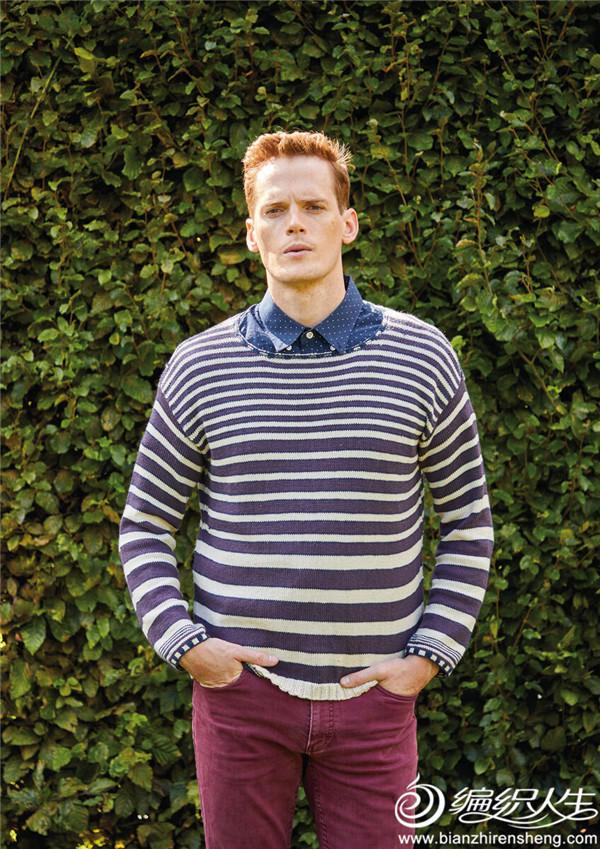 男士棒针条纹毛衣
