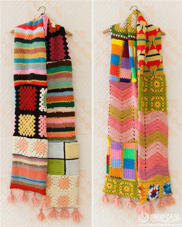 钩针彩色围巾
