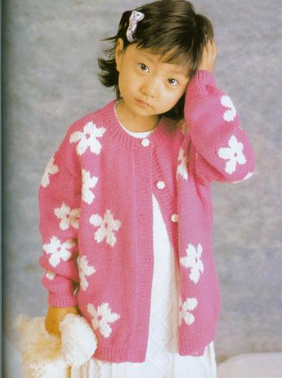 女童棒针花朵图案休闲圆领开衫毛衣