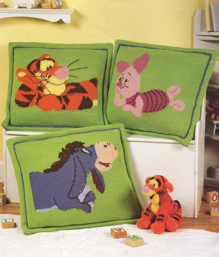 迪士尼小熊维尼主题图案棒针抱枕