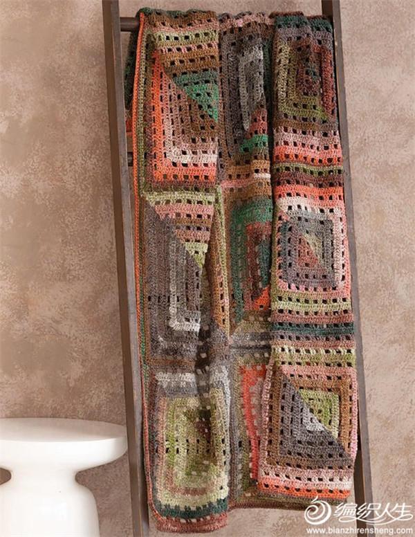 段染线钩针祖母方格毯子