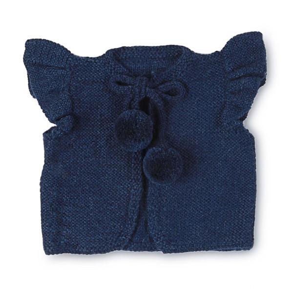 荷叶边袖口、pompom绒球系带马甲背心
