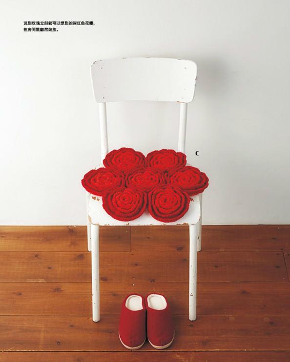 钩针玫瑰坐垫