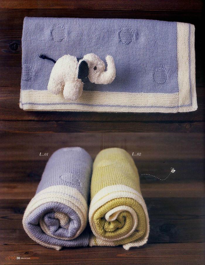 圆点花纹棒针毯子