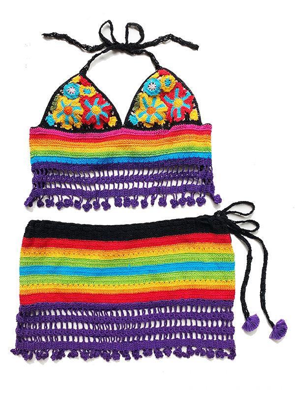 彩虹色鉤針泳衣