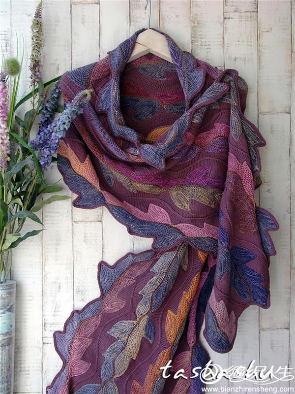 棒针叶子花围巾