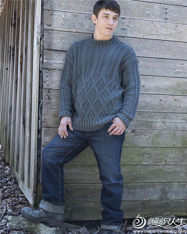 男士棒针绞花毛衣
