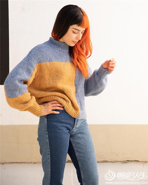 女士棒针拼色毛衣
