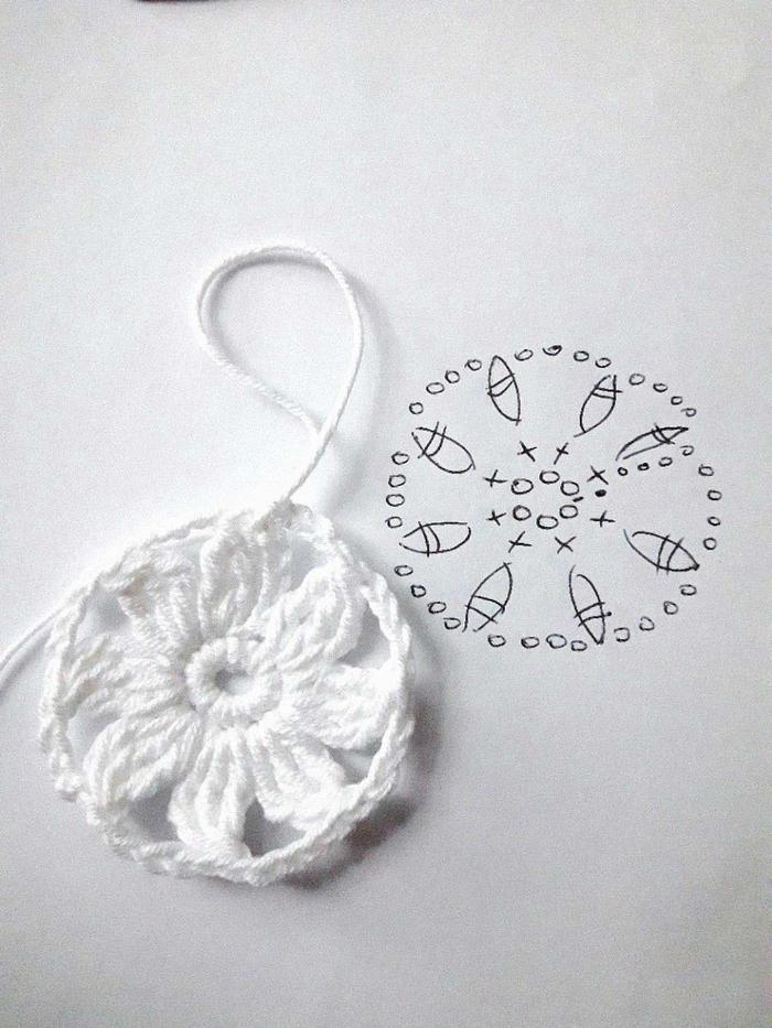 钩法别致的白色钩衣方形钩针花样编织图解