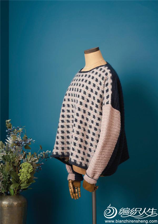 Gypsum(设计Emma Wright)经典钩针落肩袖圆领方格图案套头毛衣