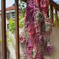 唯美段染立体拼花围巾款式图解 毛线编织围巾详细教程