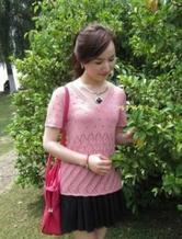 半夏 棒针编织蕾丝短袖套头衫