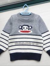儿童条纹大嘴猴毛衣编织教程