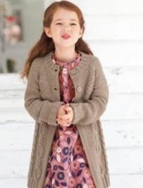 6-9岁女孩麻花开衫毛衣编织教程