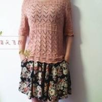 麦田 中袖女士春夏棒针编织镂空衫