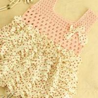 花趣 浪漫钩布结合雪纺儿童背心裙