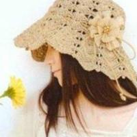 拉菲棉草钩编女士太阳帽 大沿遮阳帽