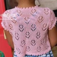 女童心形镂空夏季针织外搭 短袖小开衫