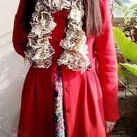花式纱线珍珠粗渔网围巾的织法视频教程