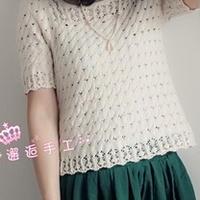 女士时尚镂空短袖衫 棒针编织毛衣教程