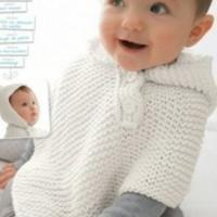 一线织到底带帽宝宝斗篷 儿童毛衣教程